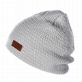 Custom Made Your Own Logo Embroidery Knit Beanie with leather patch mens