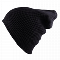 Solid color waffle knit beanie warm knitted ski hat 100% soft acrylic ski skater