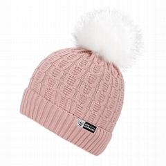 Winter fur pom pom beanie hats soft acrylic Sherpa lined knit ski hat with pom