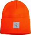 Custom OEM cuff beanie hat beanies winter knitted orange crochet cap watch hat