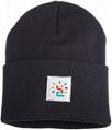 Custom OEM cuff beanie hat beanies winter knitted orange crochet cap watch hat 2