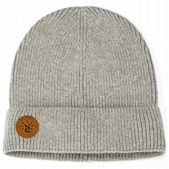 Custom logo toque cotton beanie soft breathable knitted winter hats solid color