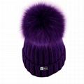 Custom purple pom beanie hats women