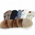 Custom purple pom beanie hats women winter slouchy cap fur biggest ball beanies