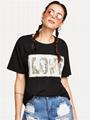 Eeversible sequin t shirt custom monogram fashion streetwear hip hop tshirt