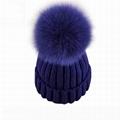 Women Hat Winter Knit Beanie Ski Cap Bobble Hat Faux Fur Pom 15cm Ball knit hat