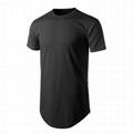 longline hip hop tee shirts curved hem custom streetwear t shirt side zipper
