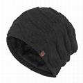 Custom leather patch beanies men baggy printing skull cap gorros de lana caps