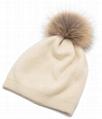 Women's Pure Cashmere beanie hat pom pom Raccoon Fur ball Slouchy Knit Beanie  2