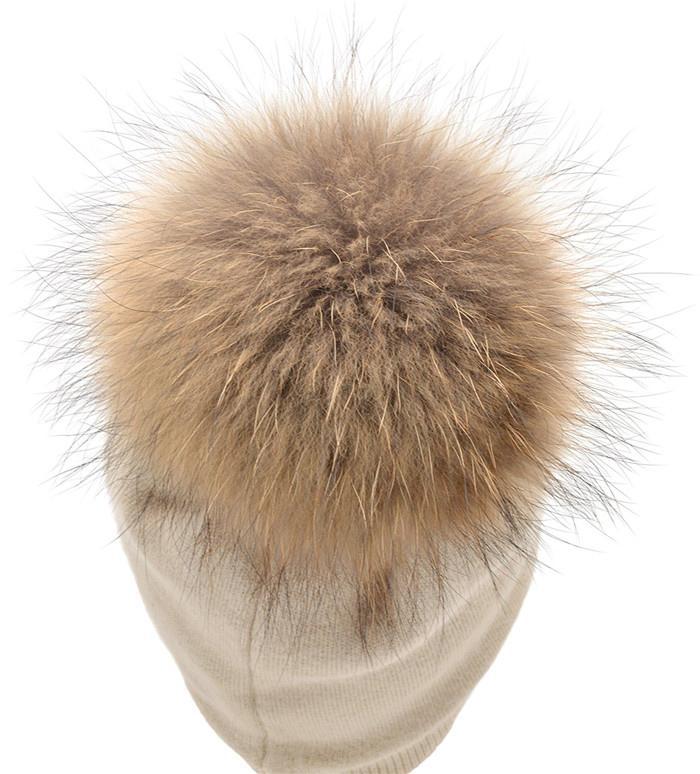Women's Pure Cashmere beanie hat pom pom Raccoon Fur ball Slouchy Knit Beanie  3