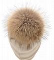 Women's Pure Cashmere beanie hat pom pom Raccoon Fur ball Slouchy Knit Beanie