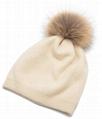 Women's Pure Cashmere beanie hat pom pom Raccoon Fur ball Slouchy Knit Beanie  4