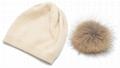 Women's Pure Cashmere beanie hat pom pom Raccoon Fur ball Slouchy Knit Beanie  5