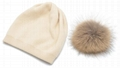 Women's Pure Cashmere beanie hat pom pom Raccoon Fur ball Slouchy Knit Beanie