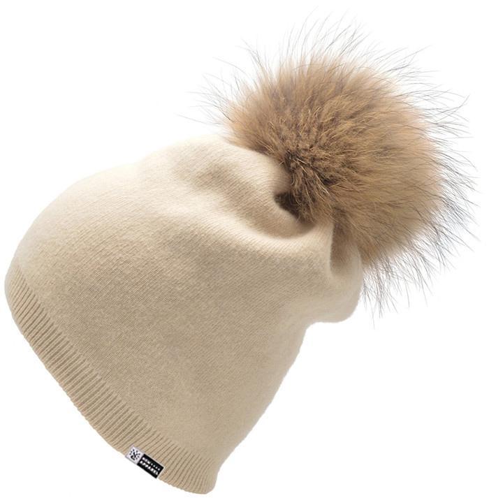Women's Pure Cashmere beanie hat pom pom Raccoon Fur ball Slouchy Knit Beanie  1