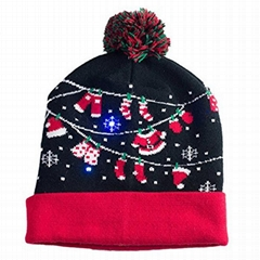 Light Up Christmas Hat Santa Clothes LED Lights Cuff Pom Pom Beanie