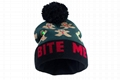 Light Up Christmas Hat Santa Clothes LED Lights Cuff Pom Pom Beanie