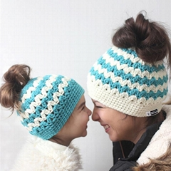 Wholesale baby and mum Crochet Ponytail Hat Messy Bun Crochet Patterns Beanies