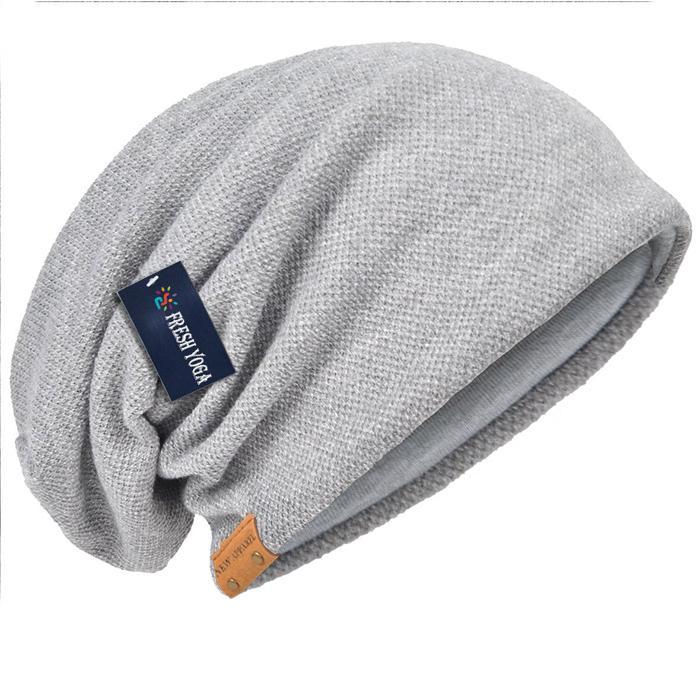 Cotton Slouchy Knit Beanie Skullcap Crochet Oversize Satin Lined Hat Custom Logo 4