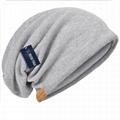 Cotton Slouchy Knit Beanie Skullcap Crochet Oversize Satin Lined Hat Custom Logo