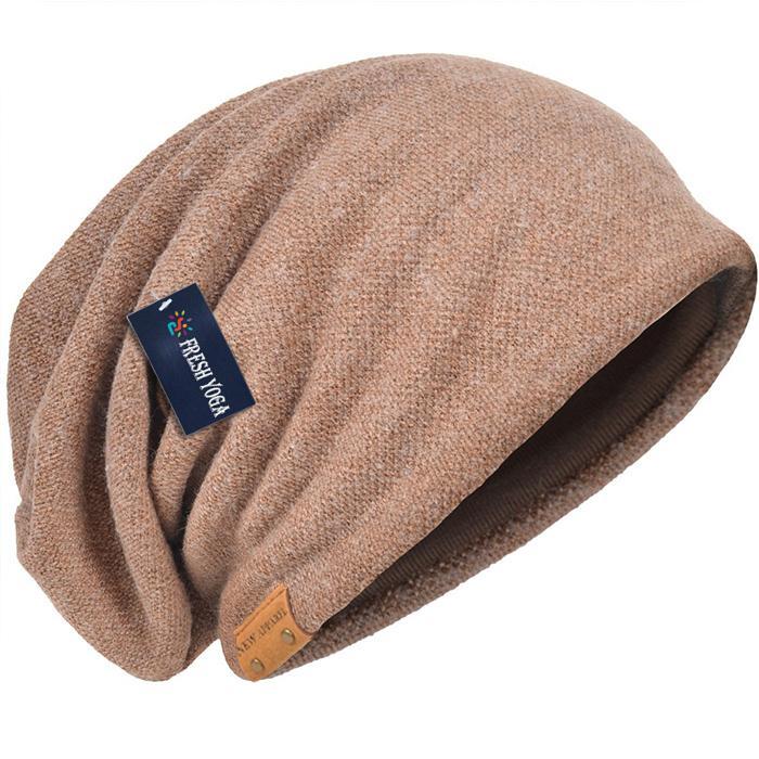 Cotton Slouchy Knit Beanie Skullcap Crochet Oversize Satin Lined Hat Custom Logo 5