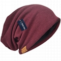 Cotton Slouchy Knit Beanie Skullcap Crochet Oversize Satin Lined Hat Custom Logo 1