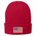 Cuff beanies with custom embroidery winter hat American flag beanie hat