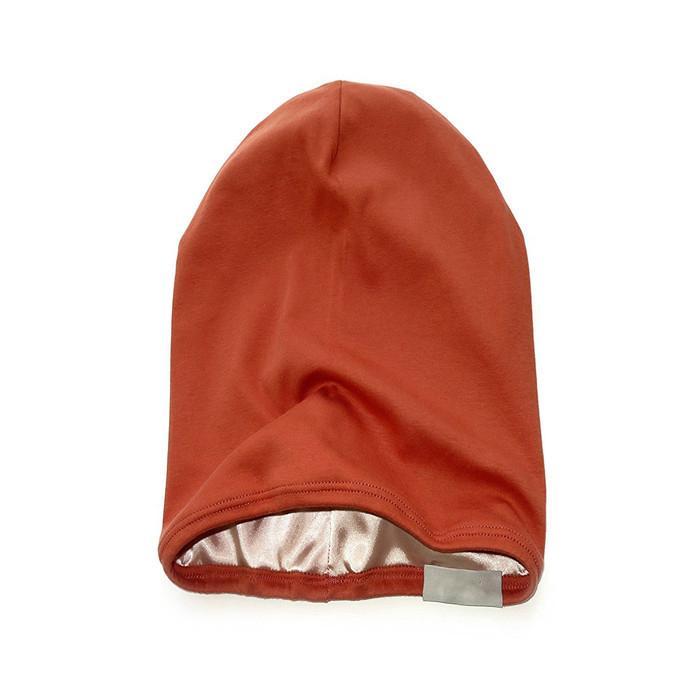 Wholesale satin lined beanie plain women hats woven label beanie custom tags 2