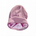 Wholesale satin lined beanie plain women hats woven label beanie custom tags