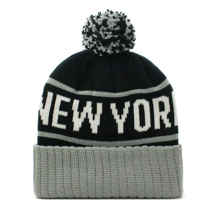 Wholesale new york logo jacquard beanie cap sa us ca uk Knitted embroidery patch 5