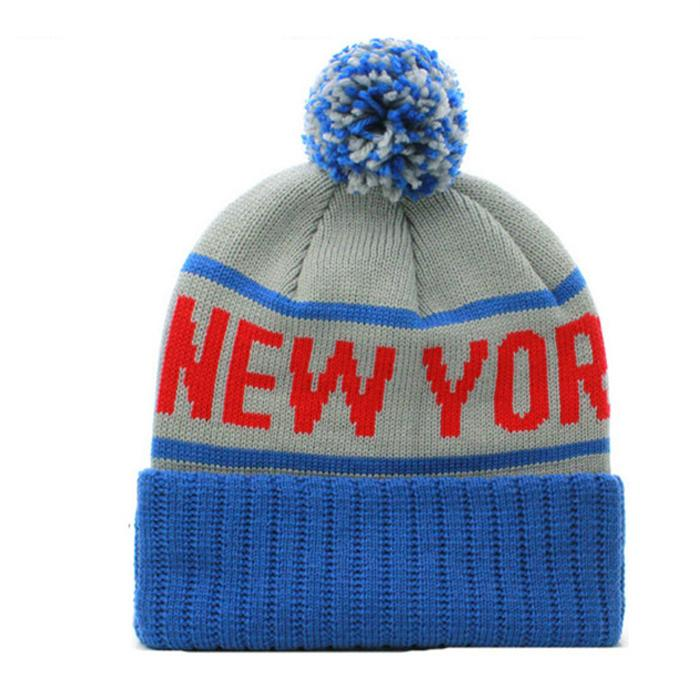 Wholesale new york logo jacquard beanie cap sa us ca uk Knitted embroidery patch 6