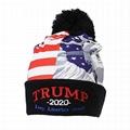 Trump Beanie Hats American Flag Embroidered Cuffed Hat Pompom Beanie Cap