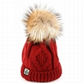 Waterproof red hat Custom leather label beanie hats cuff knitting cap slouch