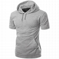 Custom blank shirt hooded short sleeve clothes men t shirt with drawstrings tee