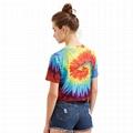 Womens Tie Dye Custom Print Shirt Tshirt Round Neck Crop TShirt Top