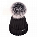 Custom real fur pom winter hat rib knit