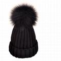 Custom real fur pom winter hat rib knit detachable acrylic ribbed beanie tuque