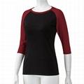 Custom 3/4 length sleeve t-shirt blank Scoop Neck raglan baseball t shirt women