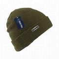 Mustard Fold-up Waffle Knit Beanie Custom Metal Patch Logo Crumpet Winter Hat