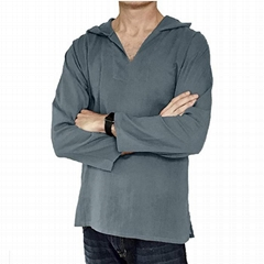 Men Hemp Clothing Tshirts Hippie V neck Shirts Beach 100% Soft Cotton Top Shirt