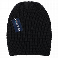 Men's Winter Thick Knit Slouchy Fit Outdoors Ski Beanie Hat Black Popcorn Beanie