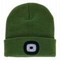 Led Light Up Beanie Hat Olive Green