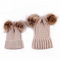 Wholesale mother and baby rib knit fur pom pom beanie womens beanies hat