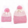 Hot sale baby and mother two tone knitted pom beanie stretch skull winter hat