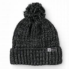 Grey Knit Customized Pom beanie Merino Winter Hat knitted Cuff Ribbed Beanie Hat