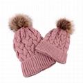 Autumn Winter hat knitted beanie pink