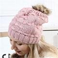 Wholesale fur pompom hat Toddler Baby Kids Warm Winter Wool Crochet Knit Beanie 3