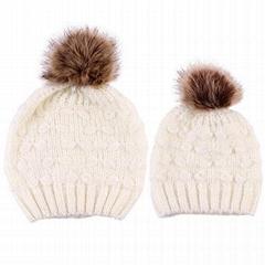 Wholesale fur pompom hat Toddler Baby Kids Warm Winter Wool Crochet Knit Beanie