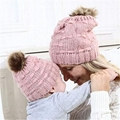 Wholesale fur pompom hat Toddler Baby Kids Warm Winter Wool Crochet Knit Beanie 4