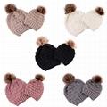 Wholesale fur pompom hat Toddler Baby Kids Warm Winter Wool Crochet Knit Beanie 5